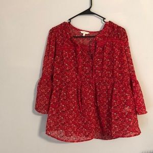 Lucky brand floral chiffon top - never worn